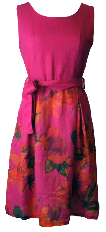 1. Fushia Flower Printed Linen Tea Dress - Made in Italy